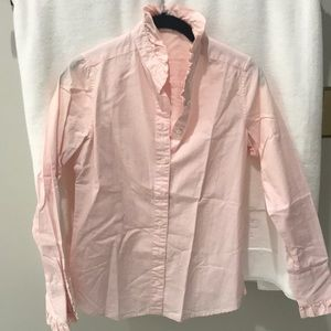 JCrew Pink and White Striped Shirt Ruffles Size 0